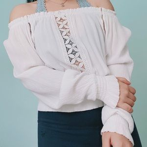 Off the shoulder white lace blouse